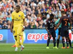 La delusione di Mbappé a Montpellier. Afp
