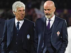 Gian Piero Gasperini e Stefano Pioli, tecnici di Atalanta e Fiorentina. Ansa