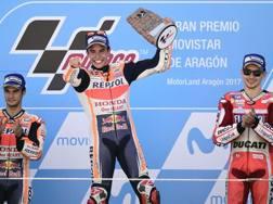 Da sinistra Pedrosa, Marquez e Lorenzo. Afp