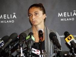Sara Errani in conferenza dopo la squalifica per doping. LaPresse