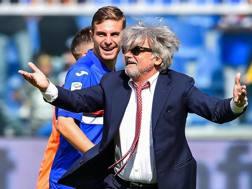 Massimo Ferrero, presidente della Samp, a fine gara dopo il 2-0 al Milan. Ansa