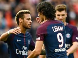 Neymar e Cavani, dopo il successo ai danni del Bordeaux. AFP