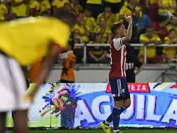 Antonio Sanabria, 21 anni, esulta dopo il gol vittoria del Paraguay ai danni della Colombia,