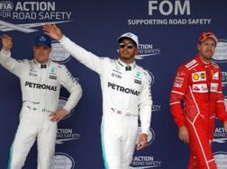 Da sinistra Bottas, Hamilton e Vettel. Getty