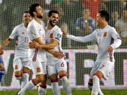 Illarramendi esulta dopo il bellissimo gol che risolve la sfida contro Israele. Afp
