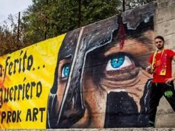 Il murales realizzato in 15 ore da Daniele Procaccini: l'obiettivo è incoraggiare la squadra
