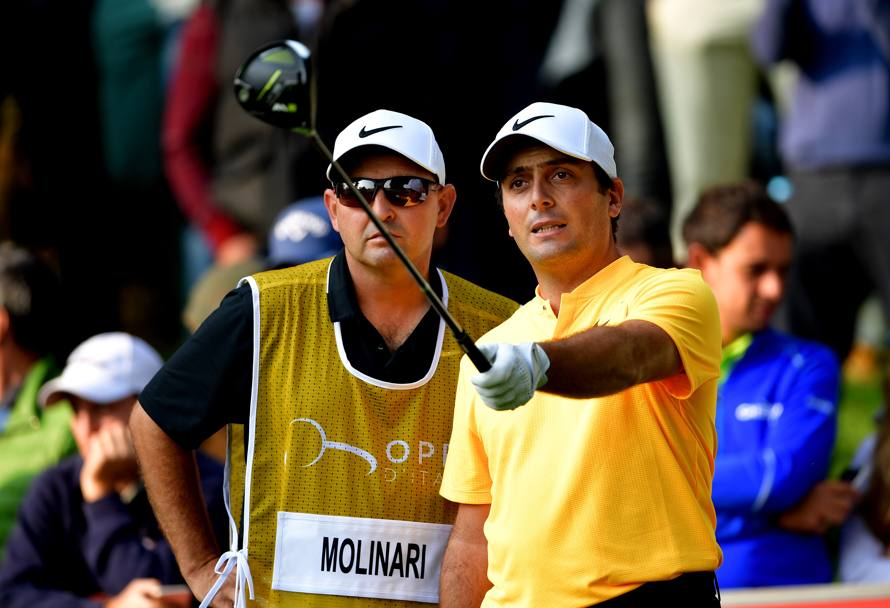 Molinari discute con il suo caddy (Getty Images)