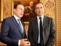 Il sindaco di San Paolo, Joao Doria, in compagnia di Giuseppe Sala, primo cittadino di Milano - LaPresse