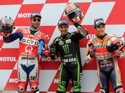 Da sinistra Petrucci, Zarco e Marquez