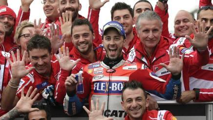 Andrea Dovizioso felice sul podio di Motegi. Afp