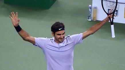 Roger Federer festeggia. Afp