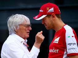 Bernie Ecclestone, 86 anni, parla con Sebastian Vettel, 30 - GETTY