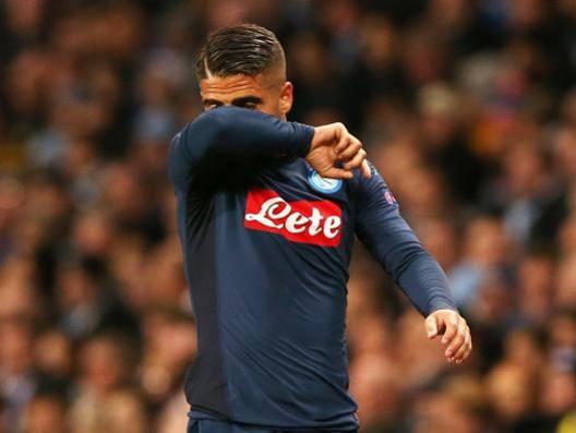 Lorenzo Insigne, uscito malconcio dal match di Champions con il City. Epa