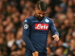 Lorenzo Insigne, uscito infortunato nella gara di Champions contro il Manchester City. Epa