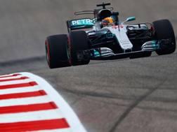 Lewis Hamilton in azione ad Austin. Afp