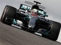 Lewis Hamilton in azione ad Austin. Epa