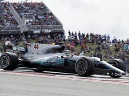 Lewis Hamilton in azione in Texas. Ap
