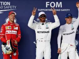 Da sinistra Vettel, Hamilton e Bottas. Afp