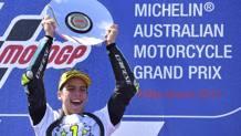 Joan Mir festeggia il titolo della Moto3. Ap