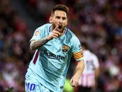 Messi esulta al San Mames. Epa