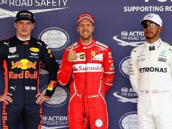 Da sinistra Verstappen, Vettel e Hamilton. Afp