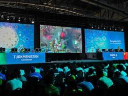 Un momento del match di eSports fra Turkmenistan e Cina ai Giochi Asiatici di settembre. Afp