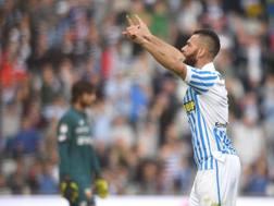 Mirco Antenucci, 33 anni, esulta per  il gol della vittoria Lapresse