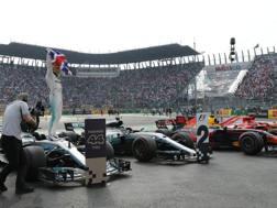 Hamilton esulta: malgrado il nono posto è campione del mondo. Epa