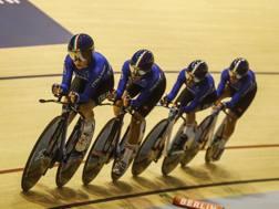 Le formidabili azzurre dell'inseguimento a squadre. Bettini