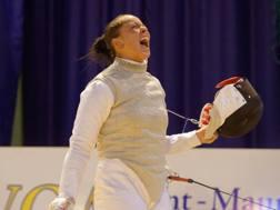 L'urlo di Alice Volpi dopo la vittoria in semifinale. Bizzi