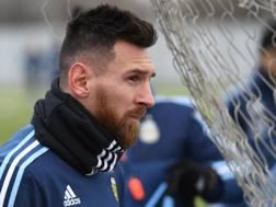 Lionel Messi nel ritiro dell'Argentina. Afp