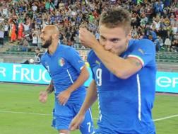 Da sinistra, Simone Zaza e Ciro Immobile in maglia azzurra. Ansa