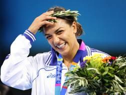 Lucia Morico, 41 anni. Qui sul podio di Atene 2004: bronzo olimpico nei 78 kg Afp