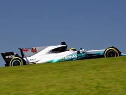 Lewis Hamilton in azione in Brasile. Getty