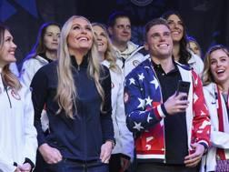 Lindsey Vonn con lo  snowboarder Alex Diebold