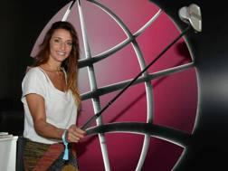 Elisa Di Francisca allo stand Gazzetta degli Open d'Italia di golf
