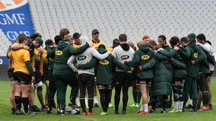 Springboks in cerchio a Saint-Denis alla vigilia del match con la Francia. Afp