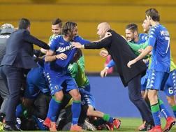 L'esultanza del Sassuolo dopo il gol di Peluso. GETTY IMAGES