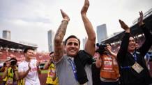 Fabio Cannavaro, 44 anni, festeggia la qualificazione alla Champions League asiatica con il Tianjin. Afp