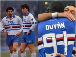 A sinistra Vialli e Mancini, a destra l'abbraccio fra Zapata e Quagliarella