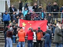 Gli spalti durante la partita tra la selezione cinese Under 20 e lo Schott Mainz. Afp