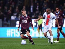 Un'azione del match tra Salernitana e Cremonese. LaPresse