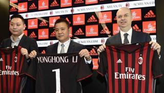 La presentazione della nuova proprietà Milan, nell'aprile 2017. Afp