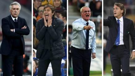 Carlo Ancelotti, Antonio Conte, Claudio Ranieri e Roberto Mancini
