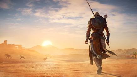 """Un fermo immagine da """"Assassin's Creed Origins"""", il decimo episodio della saga single player Ubisoft ambientato in Egitto"""
