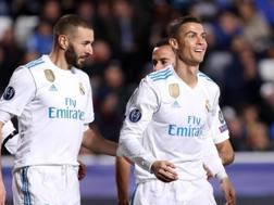 La gioia di Cristiano RonalLa gioia di Cristiano Ronaldo e Benzema. Due gol a testa contro l'Apoel. Epado e Benzema contro l'Apoel. Epa