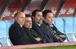 Lo stato maggiore del Milan. Da sinistra, Fassone, Montella, Mirabelli e Han LI. Getty
