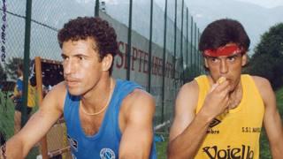 Daniel Fonseca, a destra, con Careca quando giocava nel Napoli.