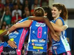 L'esultanza di Novara per la vittoria contro Casalmaggiore