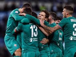 La festa della Fiorentina dopo il gol del pareggio. Ansa